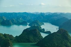Ha Long Bay view from above, fisher farm in Halong bay. Ha Long Bay. UNESCO World Heritage site. Ha Long Bay, in the Gulf of Tonkin, includes some 1,600 islands stock images