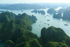 Ha Long Bay view from above, fisher farm in Halong bay. Ha Long Bay. UNESCO World Heritage site. Ha Long Bay, in the Gulf of Tonkin, includes some 1,600 islands stock image