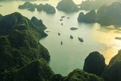 Ha Long Bay view from above, fisher farm in Halong bay. Ha Long Bay. UNESCO World Heritage site. Ha Long Bay, in the Gulf of Tonkin, includes some 1,600 islands stock photography