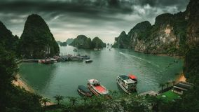 Ha Long Bay Vietnam. Islands landscape at Halong. Ha Long Bay Vietnam. Aerial panoramic view. Famous travel nature destination. Green mountains in the water royalty free stock photos