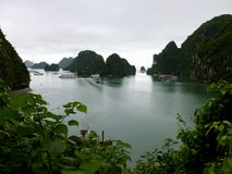Ha Long Bay in Vietnam as Seen from Suprise Cave royalty free stock image