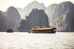 Ha Long Bay, Vietnam. Cruise Hotel ship at Ha Long Bay in North Vietnam Royalty Free Stock Photo