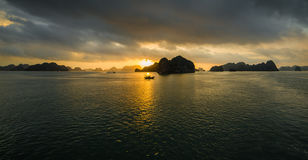 Ha Long Bay, Vietnam - December 02, 2015: Sunrise at Halong Bay, Vietnam. Unesco World Heritage Site. Most popular place in Vietna Stock Photos