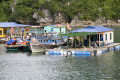 Ha Long Bay, Vietnam, houseboats Royalty Free Stock Image