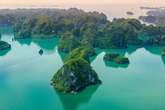 Ha Long Bay view from above, fisher farm in Halong bay. Ha Long Bay. UNESCO World Heritage site. Ha Long Bay, in the Gulf of Tonkin, includes some 1,600 islands royalty free stock image