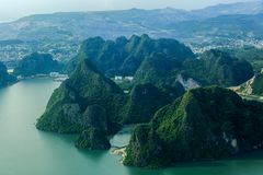 Ha Long Bay view from above, fisher farm in Halong bay. Ha Long Bay. UNESCO World Heritage site. Ha Long Bay, in the Gulf of Tonkin, includes some 1,600 islands royalty free stock photo