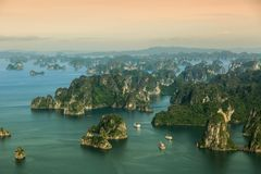 Ha Long Bay view from above, fisher farm in Halong bay. Ha Long Bay. UNESCO World Heritage site. Ha Long Bay, in the Gulf of Tonkin, includes some 1,600 islands stock photo