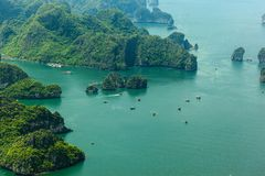 Ha Long Bay view from above. Ha Long Bay. UNESCO World Heritage site. Ha Long Bay, in the Gulf of Tonkin, includes some 1,600 islands and islets, forming a stock photography
