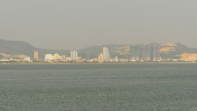 Ha Long city on the north of Vietnam. Panorama of the city from afar. stock footage