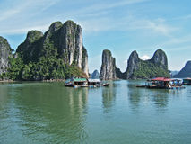 Ha Long, Vietnam. Houses on the water - Ha long Bay Vietnam Royalty Free Stock Photos