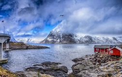 Ha,mnoy Fishing Village at Lofoten Islands in Norway. stock photography