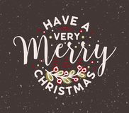 Ha mycket glad jul att önska handskrivet med den eleganta calligraphic stilsorten och som dekorerar av bärkvisten ferie stock illustrationer