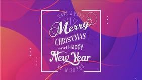 Ha mycket glad jul och det lyckliga nya året som vi önskar dig bokstäverlogo på lutningbakgrund, designmall med vektor illustrationer