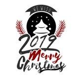 Ha mycket glad jul, och lyckligt nytt år 2019 önskar vi dig som märker textlogo stock illustrationer