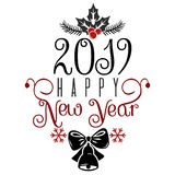 Ha mycket glad jul, och lyckligt nytt år 2019 önskar vi dig som märker textlogo royaltyfri illustrationer