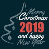 Ha mycket glad jul, och lyckligt nytt år 2019 önskar vi dig som märker textlogo på svart bakgrund vektor illustrationer
