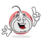 Ha ottenuto una mascotte dell'aglio di idea, il carattere dell'aglio, fumetto dell'aglio Fotografia Stock