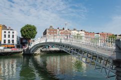 Ha penny Bridge, Dublin. Famous dublin landmark ha penny bridge ireland (offically Wellington Bridge). Shot in a wonderful sunny day Royalty Free Stock Photography