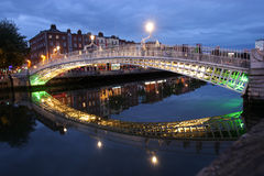 The ha'penny bridge in dublin, ireland stock photo