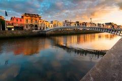Ha`Penny Bridge, Dublin, Ireland. Sunset of Ha`Penny Bridge, Dublin, Ireland stock photo