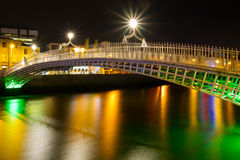 Ha'penny bridge in Dublin at night Stock Images