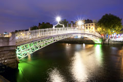 Ha'penny Bridge at Night Royalty Free Stock Photo