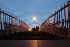 Ha'penny Bridge at night. Royalty Free Stock Photography