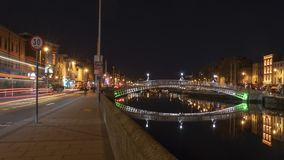 Ha-penny bridge at night royalty free stock photography