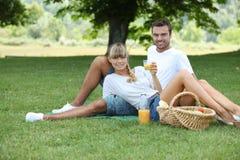 Ha picknick för par Arkivbild