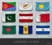 Ha rivettato la bandiera del paese corrugata con le ombre e la vite Immagini Stock Libere da Diritti