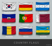 Ha rivettato la bandiera del paese corrugata con le ombre e la vite Immagine Stock Libera da Diritti
