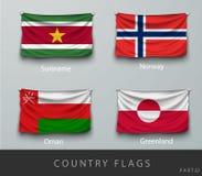 Ha rivettato la bandiera del paese corrugata con le ombre e la vite Fotografie Stock Libere da Diritti