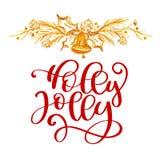 Ha text Holly Jolly Christmas och gulddekoren Julhälsningkort med kalligrafi Handskriven modern borste stock illustrationer