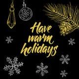 Ha varma ferier! Räcka skriftlig bokstäver och julklottret på svart bakgrund Fotografering för Bildbyråer