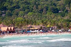 Haad Rin beach before the New Year celebrations. Island Koh Phangan, Thailand. KOH PHANGAN,THAILAND - DECEMBER 31, 2014: Haad Rin beach before the New Year Stock Image