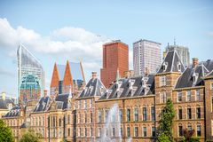 Haag city in Netherland. Beautiful skyline with modern skyscrapers and old building in Haag city, Netherlands Stock Photography