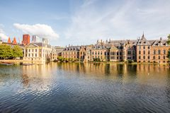 Haag city in Netherland. Cityscape view on the small lake with beautiful old buildings and modern skyscrapers on the background in the centre of Haag city Stock Photography