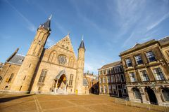 Haag city in Netherland. Sunset view on the inner court of Binnenhof with Hall of Knights in the centre of Haag city in Netherlands Stock Photos