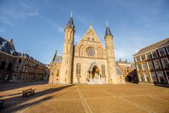 Haag city in Netherland. Sunset view on the inner court of Binnenhof with Hall of Knights in the centre of Haag city in Netherlands Royalty Free Stock Photography