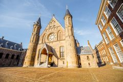 Haag city in Netherland. Sunset view on the inner court of Binnenhof with Hall of Knights in the centre of Haag city in Netherlands Royalty Free Stock Images