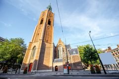 Haag city in Netherland. View on saint Jacobus church in the centre of Haag city in Netherlands Royalty Free Stock Image