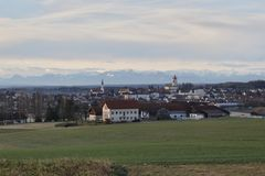 Haag. Village of Haag with the bavarian alps Stock Images