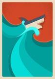 Haai in blauwe overzees Vectorafficheachtergrond Royalty-vrije Stock Afbeelding
