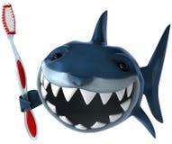 Haai en tandenborstel stock illustratie