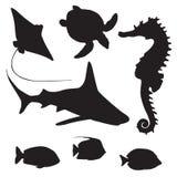Haai, schildpad, vissen en Seahorse-silhouet vector illustratie