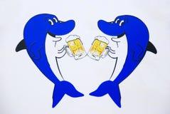 Haai twee drinkt bier. Royalty-vrije Stock Foto