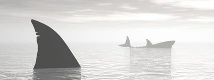 Haaien in de 3D oceaan - geef terug royalty-vrije illustratie