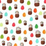 Haak Pasen-cakes en de hand getrokken achtergrond van het paaseieren naadloze patroon stock afbeelding