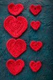 Haak valentijnskaartharten Stock Foto
