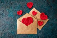 Haak valentijnskaartharten Stock Fotografie